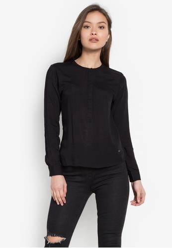 Stylistic Mr. Lee black Long Sleeves Chinese Collar Shirt MR206AA0KEUMPH_1