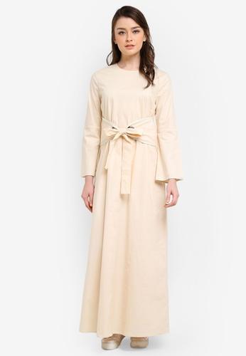Zalia beige Contrast Binding Waist Tie Dress 47B34AA71E0B9EGS_1