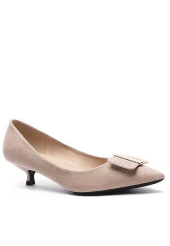 Twenty Eight Shoes 尖頭方扣絨面高踭鞋295-44 F8673SH190AE11GS_1
