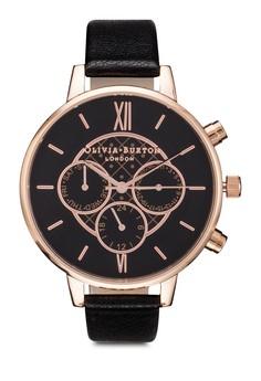 Olivia Burton Chrono Detail Black Dial Rose Gold Watch image