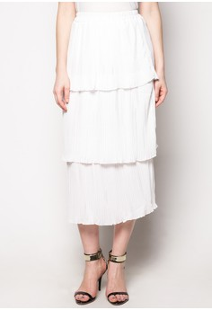 Tiered Micropleat Skirt