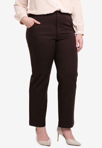 Ex'otico brown Plus Size Basic Trousers B0D91AAE6E8017GS_1