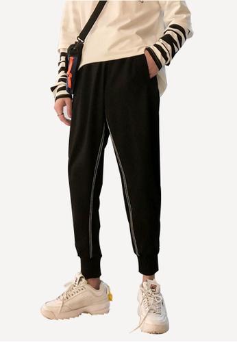 hk-ehunter black Men's Bundle Casual Pants 200D1AA170BCF7GS_1