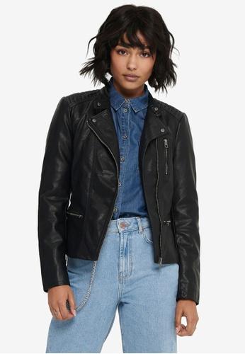 ONLY black Freya Faux Leather Biker Jacket 97350AA05F7387GS_1