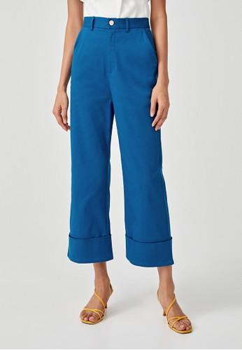 Love, Bonito blue Ilova Straight Cuffed Pants D5255AA7254B5BGS_1