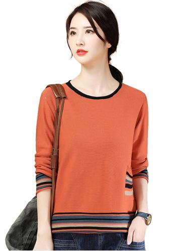 A-IN GIRLS orange Contrast Round Neck Striped Sweater 1DE70AAB038E04GS_1