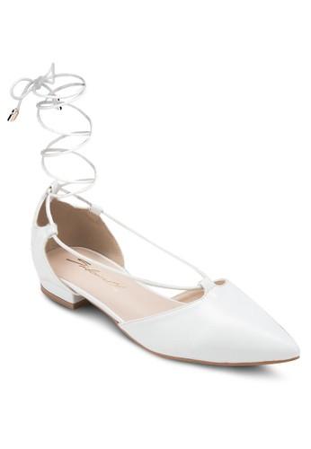 尖頭纏繞踝帶zalora開箱平底鞋, 女鞋, 芭蕾平底鞋