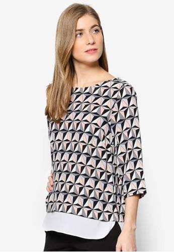 esprit 折扣Petite 幾何印花層次上衣, 服飾, 上衣