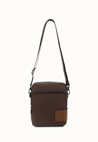 Valentino Rudy brown Valentino Rudy Leather-Trimmed Nylon Sling Bag VA677AC0G8DESG_1