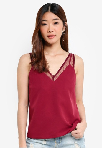 Something Borrowed red Sheer Dottted Layered Top 1FB96AA8C200D1GS_1