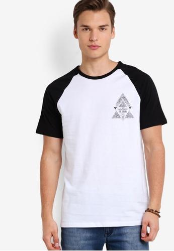 Burton Menswear London black Black Raglan Chest Print T-Shirt BU964AA90OFTMY_1
