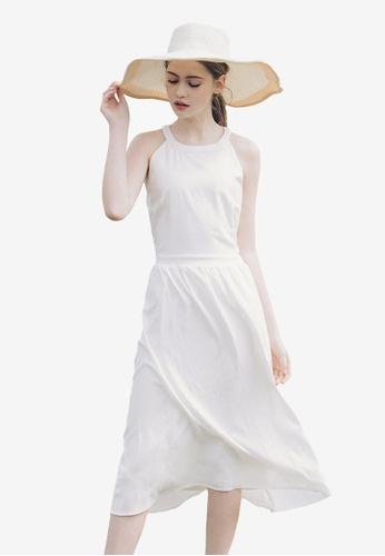 Kodz white Halter Neck Midi Dress 28C1BAADC21704GS_1