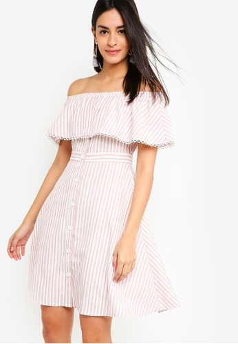 ZALORA pink Off Shoulder Fit And Flare Dress 39051AA1915AA2GS_1