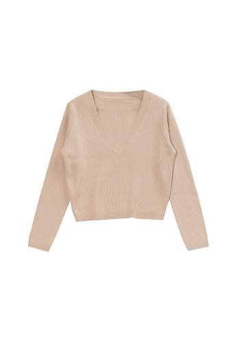 KLAPS beige V-neck Cashmere-blend Sweater 9119DAA43124E9GS_1