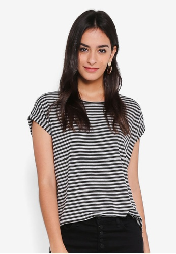 Vero Moda grey Ava Plain Short Sleeve Stripe Top 79081AAFC6E709GS_1