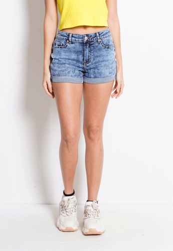 Fave blue Mid Rise Short Jeans 7839DAAC61092AGS_1