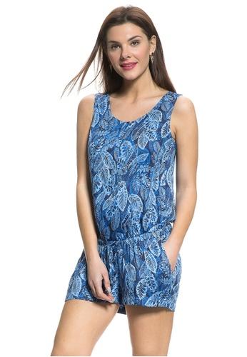 e43c28d82d216 Mayarya blue Tropical Leaf Maternity and Nursing Romper D2CEFAA27503D0GS 1