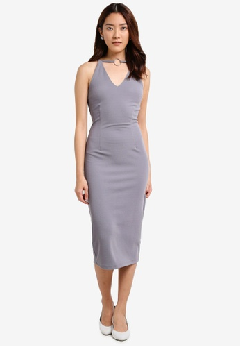 Something Borrowed grey Cut In Neckline Ring Midi Dress 75D5EAACB900EFGS_1