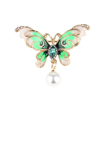 Glamorousky green Fashion and Elegant Plated Gold Enamel Green Butterfly Imitation Pearl Brooch with Cubic Zirconia 71A1EACF12BE7DGS_1