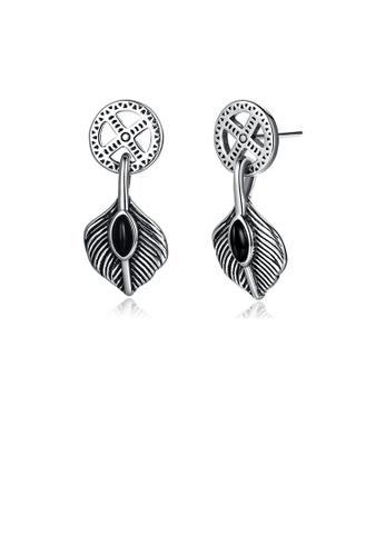 Glamorousky silver 925 Sterling Silver Retro Fashion Leaf Earrings BFC3BAC0B10670GS_1