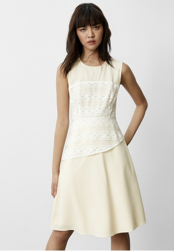 Pomelo beige Asymmetric Lace Detail Dress - Cream 75E5FAA07B63F9GS_1