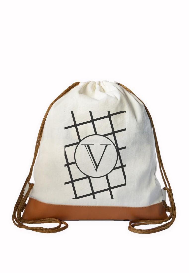 Drawstring Bag Minimalist Initial V
