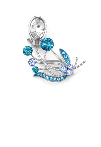 Glamorousky silver Gleaming Flower Brooch with Blue and Silver Austrian Element Crystals F31C3ACBD4C42FGS_1