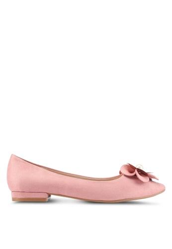 Velvet pink Flower Embellished Ballet Flats 11B41SH1F997D6GS_1