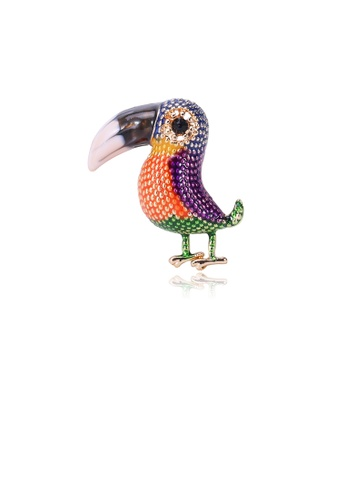 Glamorousky silver Fashion Cute Colorful Toucan Brooch EA361ACBA0854EGS_1