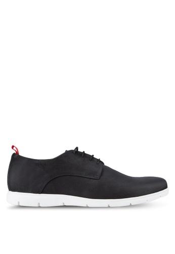 Dune London black Barny Sporty Wedge Sole Gibson Shoes DU588SH70UEJMY_1