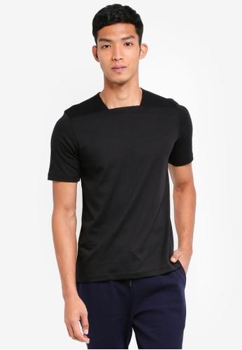 UniqTee 黑色 方領短袖T恤 1EA45AA690D079GS_1
