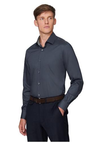T.M. LEWIN grey [T.M.Lewin] Premium Slim Fit Charcoal Single Cuff Shirt With Liberty Fabric Trim 211D0AAD0B7B71GS_1