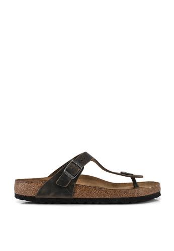 Birkenstock green Gizeh Oiled Leather Sandals 3FDDCSH1C79237GS_1