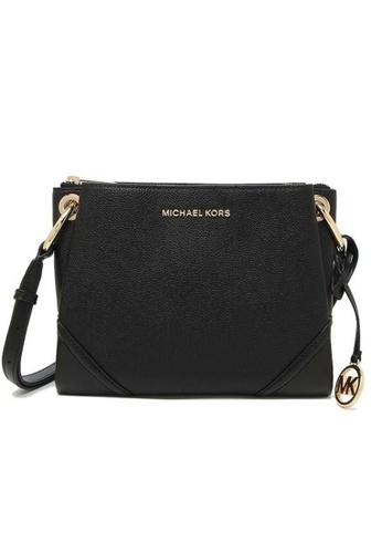 MICHAEL KORS black Michael Kors Nicole Large Logo Crossbody Bag In Pebbled Leather 35H9GNIC9L Black 5A84AAC71E0B64GS_1