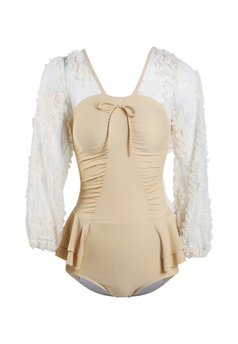 Its Me beige Elegant Lace One-Piece Swimsuit 43888USE624AD4GS_1