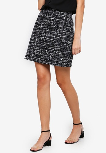 1e12a4def627ca Buy WAREHOUSE Mono Sparkle Tweed Skirt Online on ZALORA Singapore