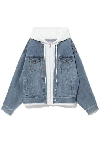 b+ab blue Denim layered zip hoodie DB010AA55CB124GS_1