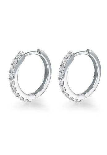 MaBelle silver 18K White Gold Simple Small Diamond Hoop Earrings MA584AC88IHZHK_1