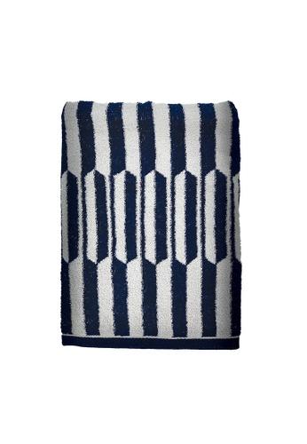 Charles Millen navy SET OF 2 Charles Millen Chevis Bath Towel 100% Cotton 70 x 140cm 400g. 55C5DHLDCF59B6GS_1
