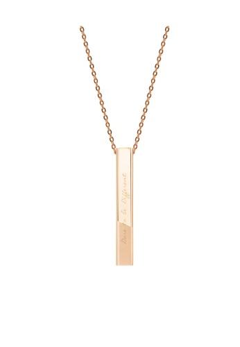 Crudo Leather Craft pink Puro Bar Necklace- Rose Gold (Matte Gold Edition) 8F2DCAC75B1DA8GS_1