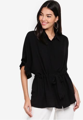 ZALORA black Ruffles Sleeves Tunic Top 6EDBEAACA73FD5GS_1