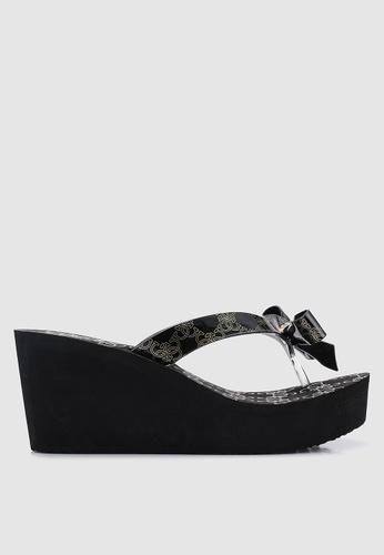 b646c5984ce8 Guess black Siarra Chain Print Bow Low Wedge Flip Flops 2BE7ESH243FF62GS 1