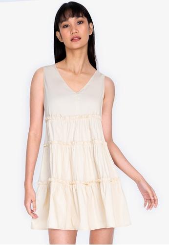 ZALORA BASICS beige V-Neck Tiered Babydoll Dress 2B649AA631852FGS_1