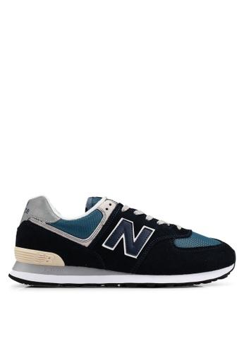 New Balance navy 574 Lifestyle Shoes 8B9BCSHBAE4DF0GS_1
