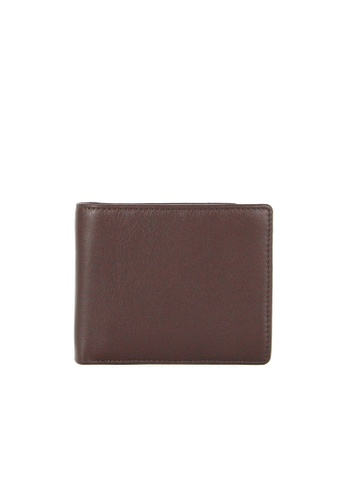 Alef brown Alef Colson Slim Bifold Wallet with Card Window in Brown A4933AC74561AFGS_1