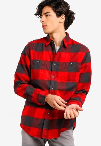 J.Crew 紅色 經典格紋法蘭絨襯衫 09DBAAA251D1C4GS_1