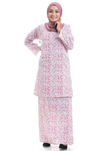 Ashura white and pink and multi Fazia Kurung Cotton Pahang CF369AA2F1E97EGS_1