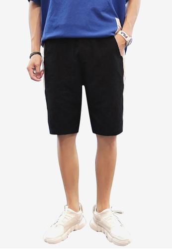 hk-ehunter black Men Embroidery Mid Rise Shorts 18E70AA8AFB790GS_1