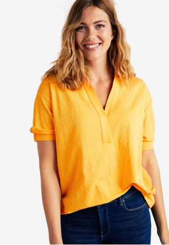 Violeta by MANGO yellow Plus Size Stretchy Sleeve T-Shirt 8999BAAA48ED99GS_1