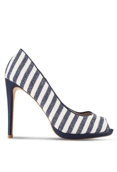 Image of Linen Peep Toe Heels